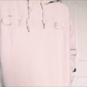 never worn calvin klein pink cropped hoodie